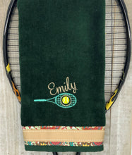 Load image into Gallery viewer, Racquet with Name Tennis Towel