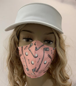 Golf Fabric Handmade Mask with Clubs Pink