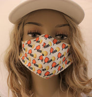 Pickleball Fabric Handmade Face Mask Dink Multicolor