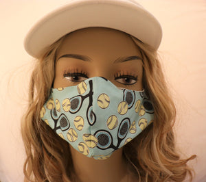 Tennis Fabric Handmade Face Mask Blue with Black Racquets