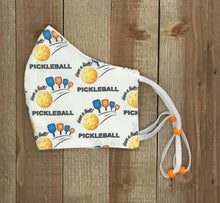 Load image into Gallery viewer, Pickleball Fabric Handmade Face Mask Multiple Paddles