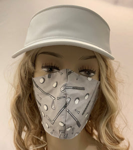Golf Fabric Handmade Mask with Clubs
