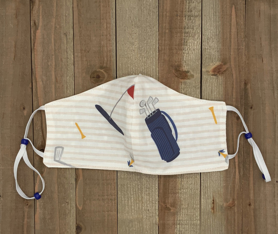 Golf Fabric Handmade Mask with Stripes