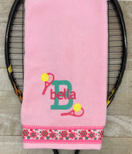 Load image into Gallery viewer, Initial and Name with Racquets Tennis Towel