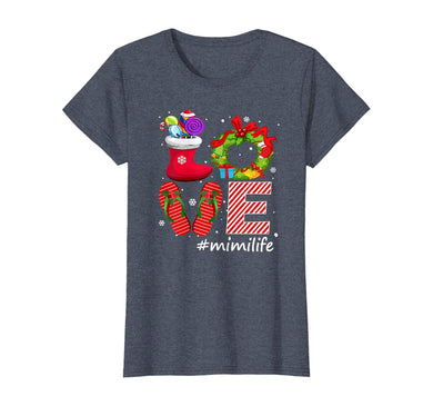 Womens Love #Mimilife Flips Flops Candy Socks Snow Christmas T-Shirt