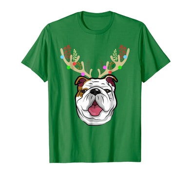XMAS Funny Bulldogs with Antlers Christmas T Shirt Xmas Tee