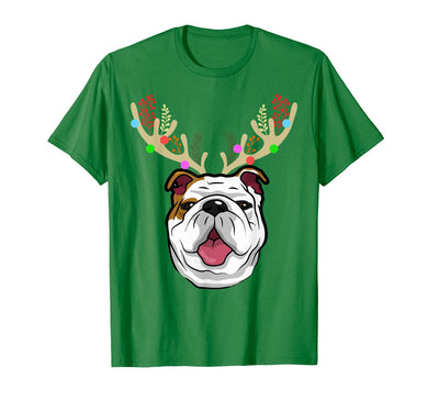 XMAS Funny Bulldogs with Antlers Christmas T Shirt Xmas Tee T-Shirt