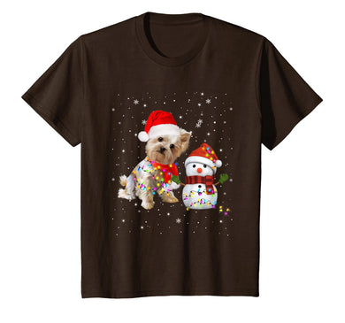 Yorkie Snowman Funny Cute Dog Mom Dad Christmas Gift T-Shirt