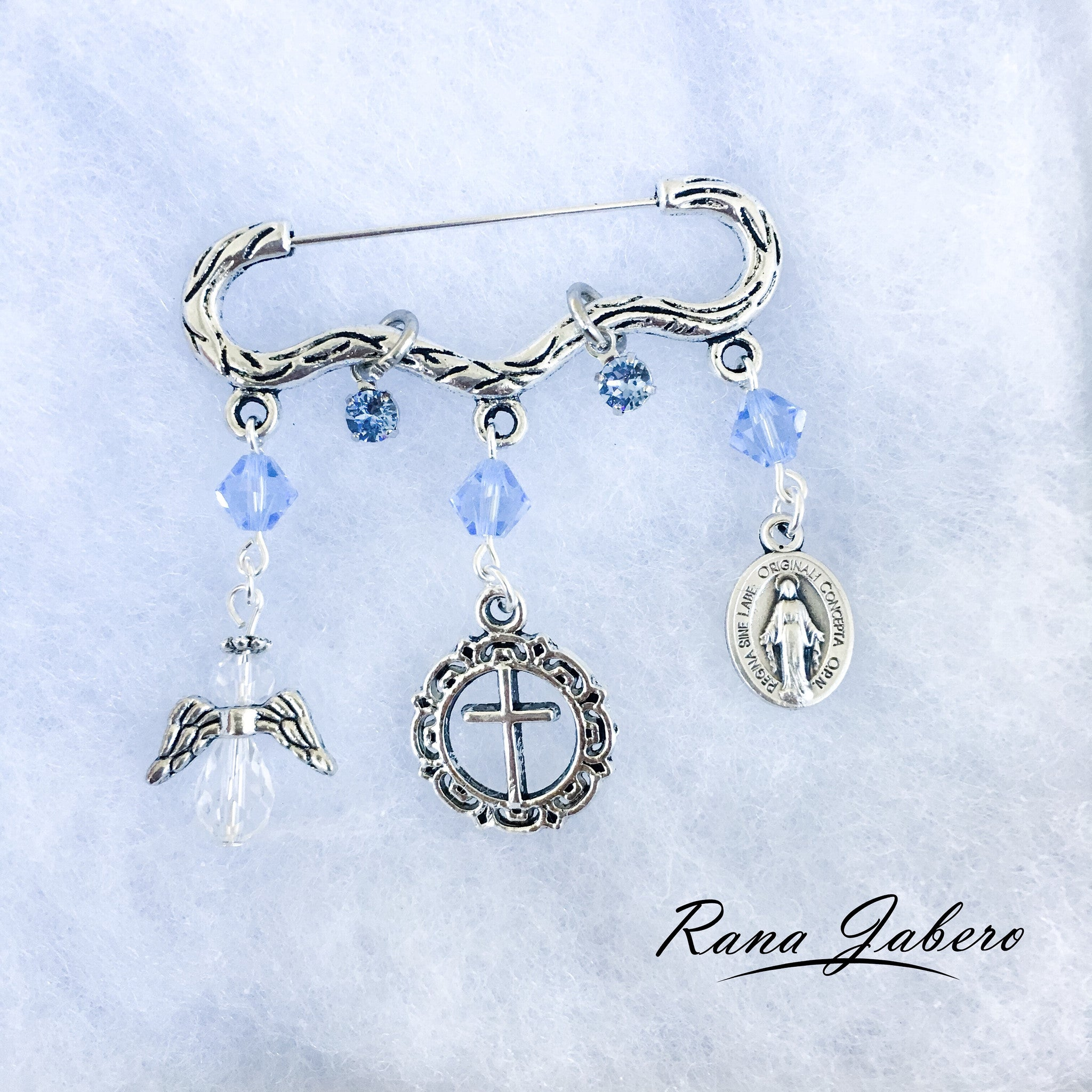 c5c518b0f862 Antique Silver Baby Boy or Girl Baptism Christening Religious Charm Pin  made with crystals from Swarovski®
