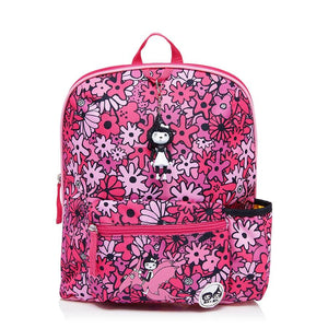 Zip and Zoe by Babymel Kid's backpack age 3+ floral pink, front view | school bags for girls | backpacks for girls | kids school bags | kids backpacks
