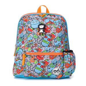 Zip and Zoe by Babymel Kid's backpack age 3+ robots blue, front view | school bags for boys | boys backpack | school bags for girls | backpacks for girls | kids school bags | kids backpacks
