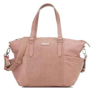 Babymel nappy bag Anya DUSTY PINK vegan leather, front view, pink faux leather baby bag handbag.