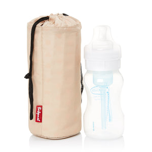 Babymel insulated thermal bottle holder with milk bottle next to it
