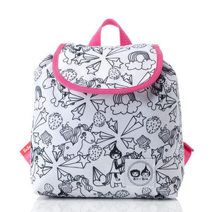 Zip and Zoe by Babymel colour & wash backpack, unicorn, front view | unicorn backpack | school bags for girls | kids backpacks | kids colouring