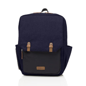 Babymel changing baby bag backpack, George Navy Black, front view, navy melange nappy bag, twin backpack
