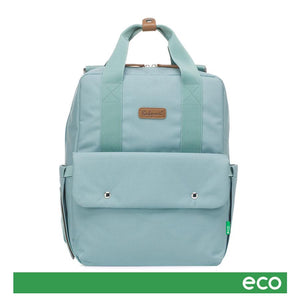 Babymel Georgi Eco baby nappy bag aqua, front view,  made from recycled plastic, backpack cross shoulder nappy bag