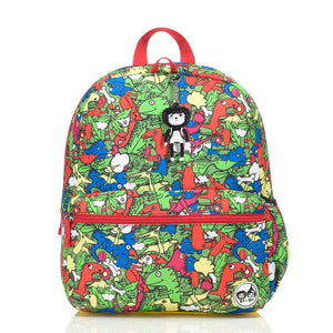 Zip and Zoe by Babymel Junior backpack dino multi, front view | dinosaur backpack | school bags for boys | boys backpack | school bags for girls | backpacks for girls | kids school bags | kids backpacks