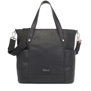Babymel nappy bag, Rosie vegan leather black tote, front view, faux leather PU handbag shoulder bag,