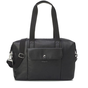 Babymel Hospital bag, Stef Vegan Leather Black nappy bag, front view, faux leather hold-all, weekend bag.