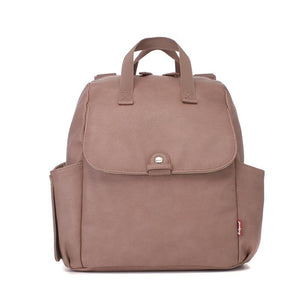 Babymel convertible changing bag, Robyn vegan leather dusty pink, front view, faux leather PU backpack changing bag, rucksack