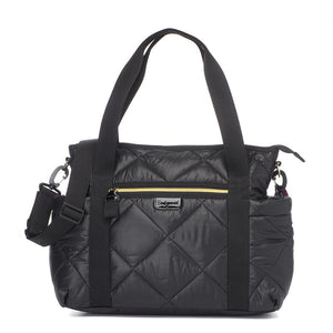Babymel changing bag Cara black quilt, front view, quilted changing bag, handbag, shoulder bag.