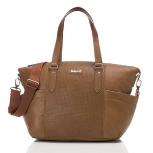 Babymel nappy bag Anya Tan vegan leather, front view, tan faux leather baby bag handbag.