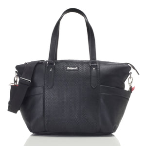 Babymel award winning nappy bags | Anya vegan Leather black | front view of baby bag