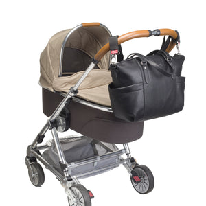 Babymel award winning nappy bags | Anya vegan Leather black | Baby bag attached to pram with pram clips