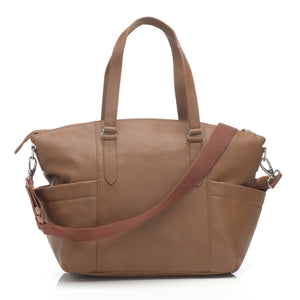 Babymel nappy bag Anya Tan vegan leather, back view, tan faux leather baby bag handbag.