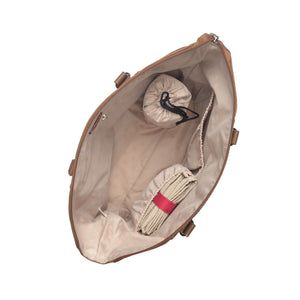 Babymel nappy bag Anya Tan vegan leather, internal empty view, tan faux leather baby bag handbag.