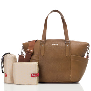 Babymel nappy bag Anya Tan vegan leather, front view, tan faux leather baby bag handbag. with accessories