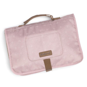 Babymel change station dusty pink origami heart, front view, baby pink changing station, handbag, shoulder bag.