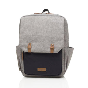 Babymel changing baby bag backpack, George Grey Black, front view, grey melange  nappy bag, backpack.