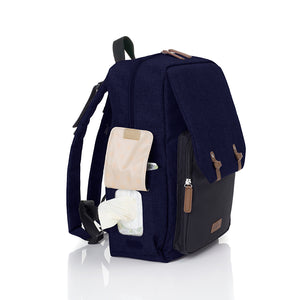 Babymel changing baby bag backpack, George Navy Black, front view, navy melange nappy bag, backpack with wipes