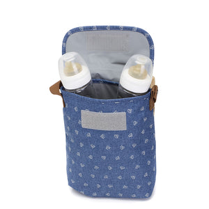 Babymel baby food and bottle bag insulated front view blue with bottles in