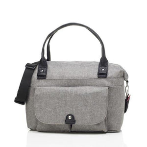 Babymel nappy bag, Jade Grey, front view, grey, handbag baby bag