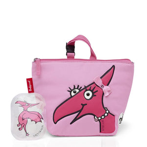 Zip and Zoe by Babymel lunch bag + ice pack daisy dragon face, front view with daisy ice pack | lunch bag | girls lunch bag