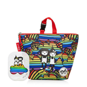 Zip and Zoe by Babymel lunch bag + ice pack rainbow multi, front view with rainbow ice pack | lunch bag | boys lunch bag | girls lunch bag