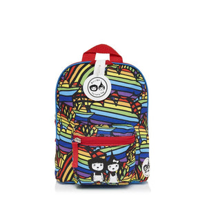 Zip and Zoe by Babymel mini backpack & safety harness-reins rainbow multi, front view | toddler backpack with reins | toddler rucksack | boys backpack | backpacks for girls | kids school bags | kids backpacks