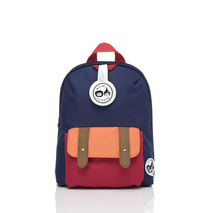 Zip and Zoe by Babymel mini backpack & safety harness-reins navy colourblock, front view | toddler backpack with reins | toddler rucksack | boys backpack | backpacks for girls | kids school bags | kids backpacks