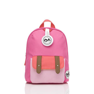 Zip and Zoe by Babymel mini backpack & safety harness-reins hot pink colourblock, front view | toddler backpack with reins | toddler rucksack | backpacks for girls | kids school bags | kids backpacks