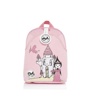 Zip and Zoe by Babymel mini backpack & safety harness-reins daisy dragon castle, front view | toddler backpack with reins | toddler rucksack | backpacks for girls | kids school bags | kids backpacks