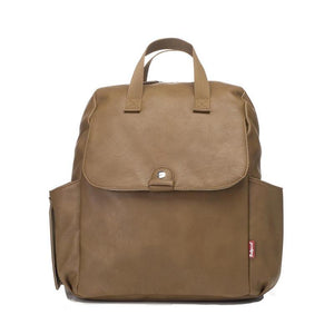 Babymel convertible changing bag, Robyn vegan leather tan, front view, faux leather PU backpack changing bag, rucksack