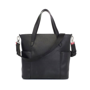 Babymel nappy bag, Rosie vegan leather black tote, back view, faux leather PU handbag shoulder bag,