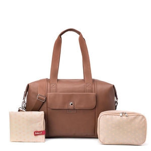 Babymel Hospital bag, Stef Vegan Leather Tan nappy bag, front view, faux leather hold-all, weekend bag. with accessories
