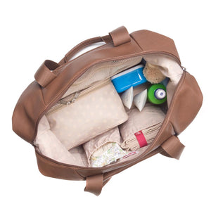 Babymel Hospital bag, Stef Vegan Leather Tan nappy bag, internal view, faux leather hold-all, weekend bag.