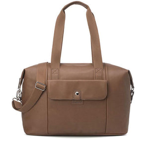 Babymel Hospital bag, Stef Vegan Leather Tan nappy bag, front view, faux leather hold-all, weekend bag.
