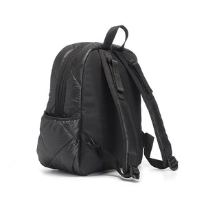 Babymel changing baby bag, Luna Quilt Black, side view, black quilted backpack, rucksack nappy bag