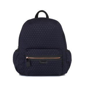 Babymel changing bag, Luna Scuba navy ultra-lite, front view, navy neoprene backpack, rucksack baby nappy bag, nappybag