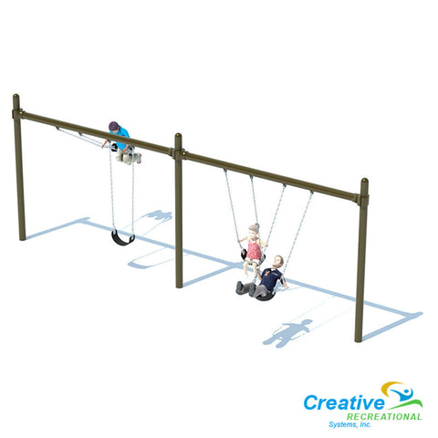"5"" SINGLE POST SWING FRAME (8') - 2 BAY"